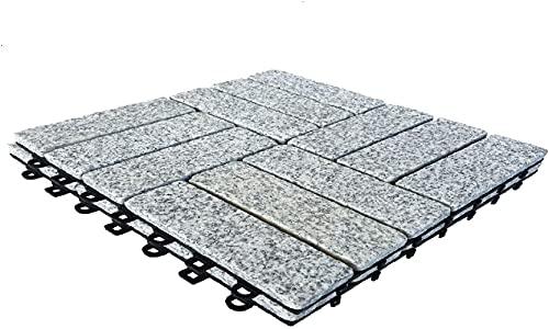 BodenMax Baldosa clic en granito natural | Modelo Barroco | Gris | 30 cm x 30 cm x 2,5 cm | Set de 2 baldosas = 0,18 m² |Para terrazas, jardines, balcones, piscinas, saunas. interiores y exteriores