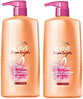 L'Oreal Paris Dream Lengths Shampoo and Conditioner Kit, With Fine Castor Oil & Vitamins B3 & B5 for Long, Damaged Hair,...