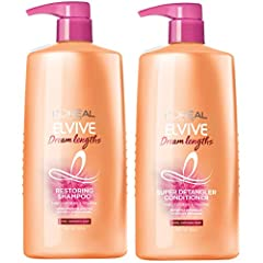 Long Hair- help seal split ends in just 1 use with elvive Dream Lengths formulated with fine castor oil and vitamins B3 and B5 Strengthen hair's length and help seal split ends with elvive Dream Lengths shampoo and elvive Dream Lengths conditioner Pa...