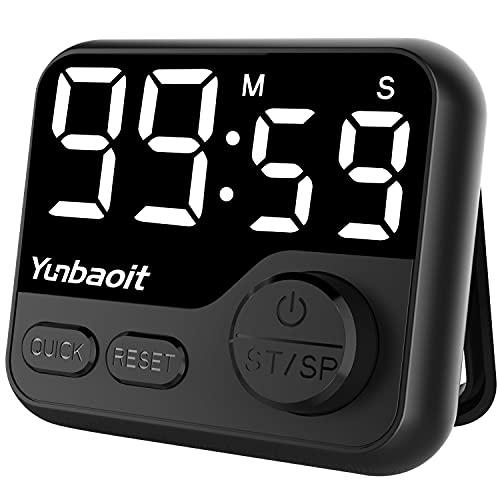Yunbaoit - Temporizador de cocina digital LED de cuenta regresiva para niños, temporizador de cuenta regresiva con perilla magnética para niños y profesores (negro)