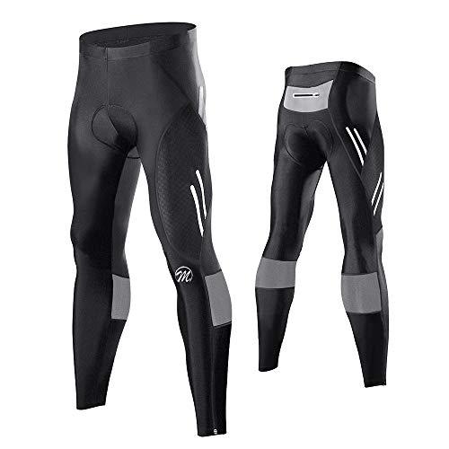MEETWEE Herren Radlerhose Lange Fahrradhose, Kompression Radhose Leggings Radsport Hose für Männer Elastische Atmungsaktive 3D Schwamm Sitzpolster