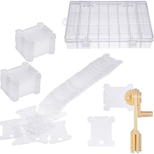 Pilink 100 bobine in plastica con avvolgitore per filo interdentale e organizer per ricamo per punto croce, artigianato, cucito fai da te