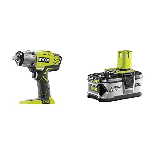 Ryobi R18IW3-0 18V ONE+ Cordless 3-Speed Impact Wrench (Body Only) & RB18L40 18V ONE+ Lithium+ 4.0Ah Battery