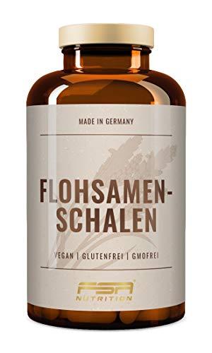 Flohsamenschalen 180 Kapseln, 1200 mg pro Kapsel, nur 3 Kapseln für 3600 mg Tagesportion, ballaststoffreich mit 100% Psyllium Husk, Hergestellt in Deutschland - FSA Nutrition