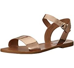 Steve Madden Women's Donddi Flat Sandal, Tan Leather, 5 M US