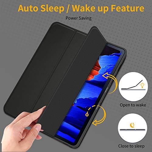 EasyAcc Hülle Kompatibel mit Samsung Galaxy Tab S7+ Plus 12.4 2020 - Ultra Dünn mit Standfunktion Slim PU Leder Schutzhülle Passt für Samsung Galaxy Tab S7 Plus 12.4 2020, Schwarz