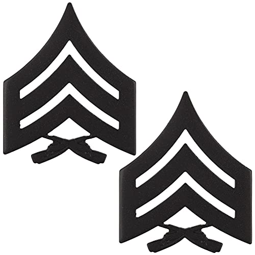 United States Marine Corps (USMC) chevron black metal SGT Sergeant E-5 Pair