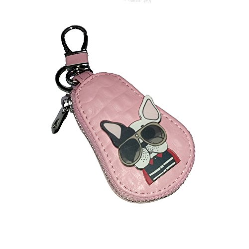 [ピオニー ドリーム] スマート キーケース 犬 (ブルドッグ サングラス ピンク)
