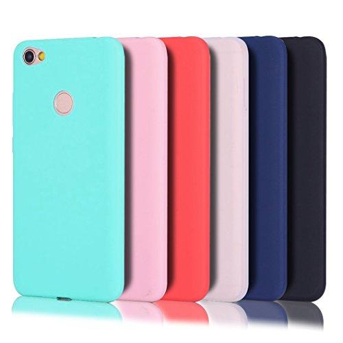 Wanxideng - 6 x Funda Xiaomi Redmi Note 5 Prime, Carcasa Suave Mate en Silicona TPU - Soft Silicone Case Cover - 6 Fundas de Colores [ Negro+ Rojo+ Azul Oscuro + Rosa + Verde Menta + Traslucido ]