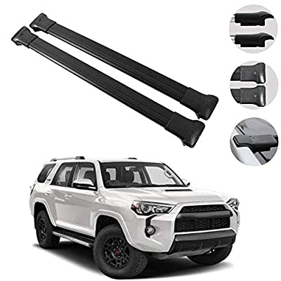 OMAC Roof Rack Cross Bars Luggage Carrier Black for Toyota 4Runner 2010-2021   Aluminum Black Cargo Carrier Rooftop Luggage Crossbars