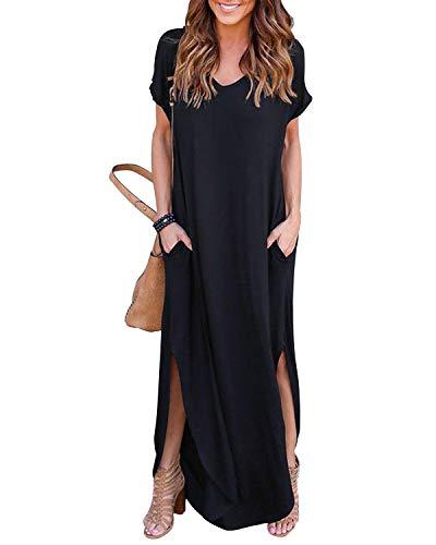 YOINS Sommerkleid Damen Lang Maxikleider für Damen Strandkleid Sexy Kleid Kurzarm Jerseykleider Strickkleider Rundhals mit Gürtel Langarm,EU44/L,Schwarz