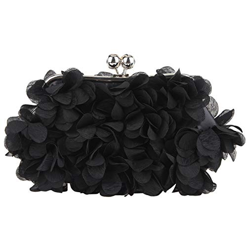 Bonjanvye Floral Clutch Purses for Women Satin Evening Bag-Black