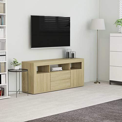 vidaXL Meuble TV Armoire Basse Meuble Divertissement avec 2 Portes et 2 Tiroirs Multimédia Salon Maison Intérieur Chêne Sonoma 120x30x50 cm Aggloméré