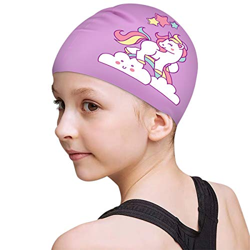 FUNOWN Kids Swim Caps for Kids, Children, Boys and Girls Aged 2-8, Baby Waterproof Bathing Caps for Long and Short Hair (Purple)