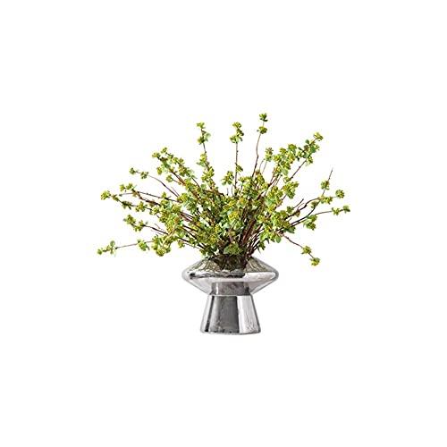 LICHUAN Kunstbloemen met vaas, zijden boeket met bladeren en bessen, bloemstukken in glazen vaas voor bruiloft bureau home decor nep bloemen
