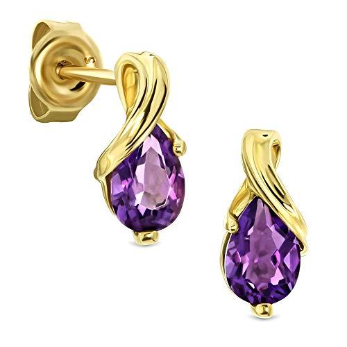 Miore Ohrringe Damen tropfen Ohrhänger mit Edelstein/Geburtsstein Amethyst in lila aus Gelbgold 9 Karat / 375 Gold, Ohrschmuck