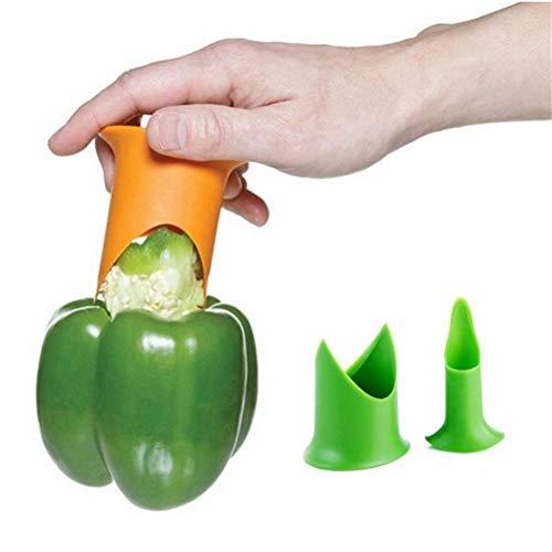 Jalapeno-, Paprika-Entkerner-Set, Schneider, Entkerner für Tomaten, Pfeffer, Gurken, professionelles Werkzeug für Obst und Gemüse, 2 Stück (grün)
