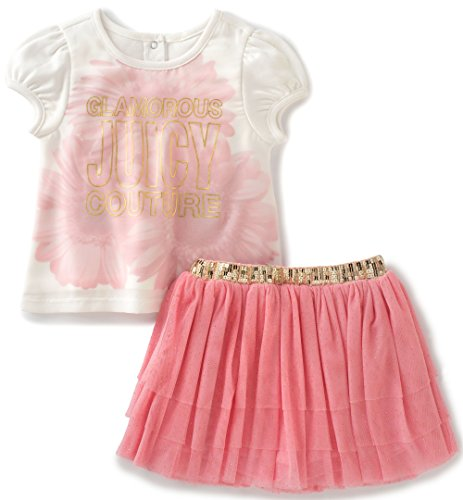 Juicy Couture Baby Girls 2 Pieces Set-Mesh Skirt, Light Pink, 12M
