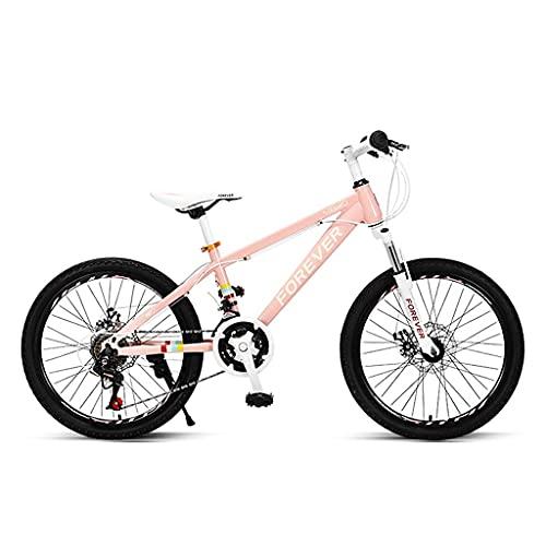 HEZHANG Bicicleta de Montaña, Bicicleta de Transferencia de Velocidad Variable de 20 Pulgadas con 24 Velocidades Variables Y M de Bajo Nivel, para Niños Y Niñas,Rosa
