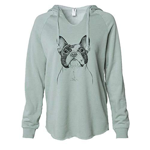 Inkopious Ella The French Bulldog - Women's Cali Wave Hooded Sweatshirt -Sage XL
