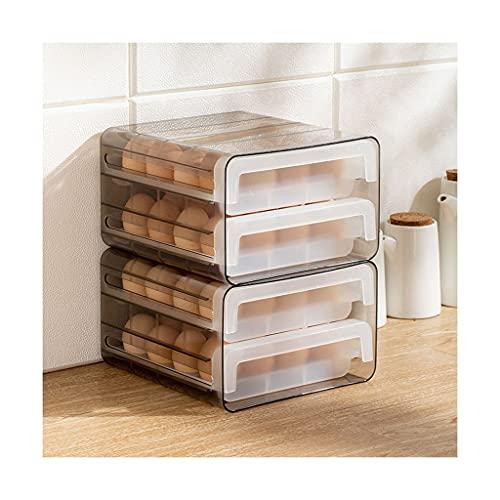 Huevo titular para refrigerador de doble capa tipo cajón 32 cuadrícula huevo cartón cocina huevo fresco contenedor de almacenamiento agujero transpirable (tamaño: 2 paquetes)