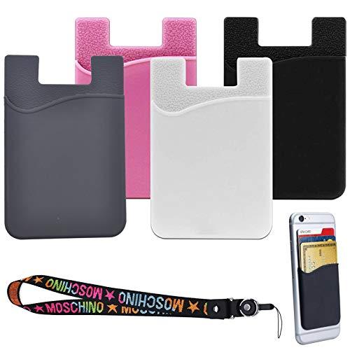 4Pcs Tarjetero Adhesivo para Móvil Portatarjetas con Adhesivo 3M Cartera Bolsillo de Silicona para Móvil Multiuso Soporte Funda para Tarjetas de Silicona Compatible con Todos los Modelos de Móviles