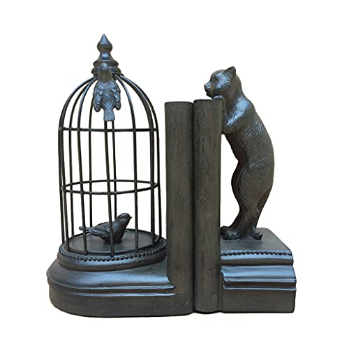 LiPengTaoShop Decorative Bookends Resin Cat And Bird Cage Sculpture Bookend Book Ends To Hold Books Book Ends For Office Home Decor