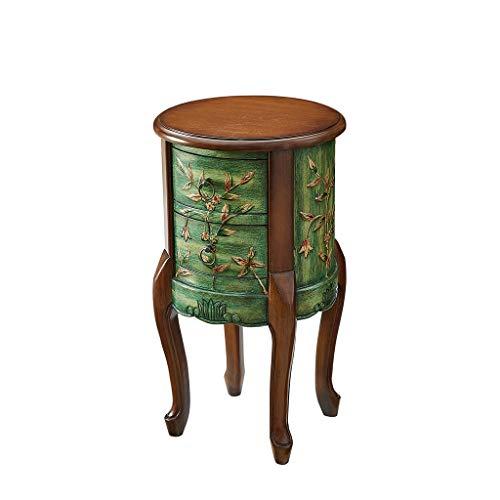 ZIJUAN Table Basse Ronde Peinte Table D'appoint Salon Salle À Manger Canapé-lit Table De Rangement De Rangement d'angle -49 * 49 * 81cm (Couleur : Green)