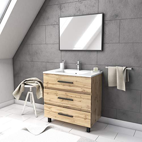 Ensemble meuble de salle de bain - Chene industriel - tiroirs -pieds en aluminium noir mat - mirroir
