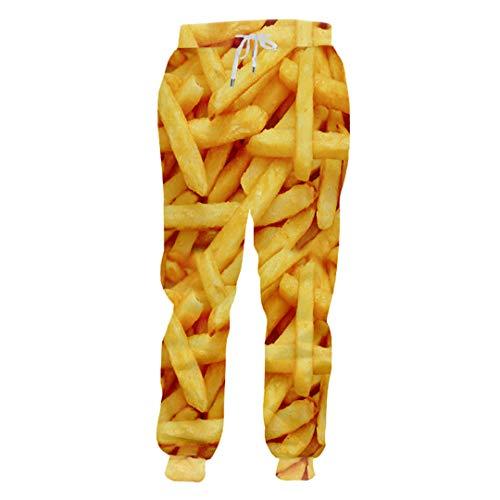 UK-PEIJIAN Jogger Pants Men Loose Food 3D Sweat Pants Print Papas Fritas Chips Streetwear Disfraz Hombre Pantalones de chndal French Fries Chip 4XL
