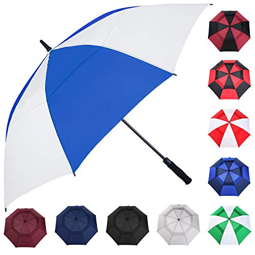 MRTLLOA Automatic Open Golf Umbrella, 62/68 Inch Extra-Large Oversized Double Canopy Vented Windproof Waterproof Stick Rain Golf Umbrellas for Men and Women (Royal Blue/White, 68 inch)