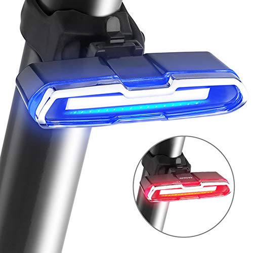 Luz Bicicleta, Led Bicicleta Recargable USB con 6 Modos Luz Cola, Lámpara Luz Alerta Impermeable Y Fácil De Instalar - Rojo Azulluz