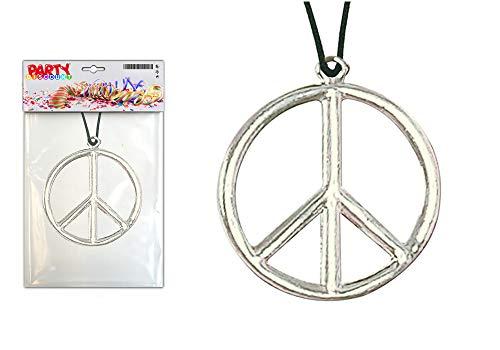 PARTY DISCOUNT ® Kette Peace-Zeichen aus Metall, Ø 5cm