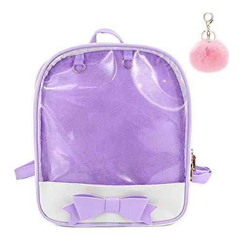 Puyang Girl Cute Ita Bowknot Kawaii Shiny DIY Window School Backpack with Pompom (Purple)