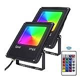Hengda Foco RGB de 50 W, 2 unidades, regulable, para exteriores, con mando a distancia de 360°, 4 modos, 12 colores LED, IP65, resistente al agua, para interiores, fiestas, garajes, parques y paisajes