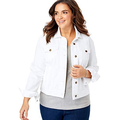 Woman Within Women's Plus Size Stretch Denim Jacket - 20 W, White
