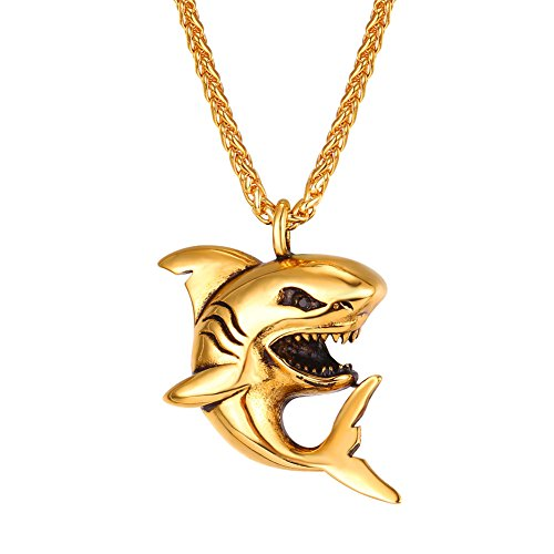 U7 Shark Pendant Animal Jewelry 18K Gold Plated Chain