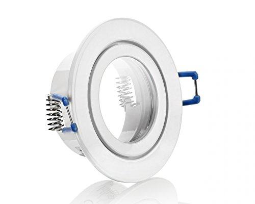 IP44 Aluminium-Einbaustrahler - Weiß - rund - Badezimmer / Feuchtraum geeignet - nicht schwenkbar - Deckenstrahler - Deckenlampe - Einbaulampe - für LED GU10, LED MR16 und LED GU5.3 Inkl. GU5.3/MR16 Fassung Eisen-gebürstet, Chrom, Weiß