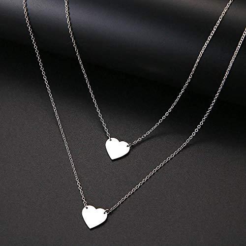 Halskette Mode Halskette Doppelherz Liebe Doppelschicht Accessoires Frauen Halsketten Bijoux Edelstahl Schmuck Geschenke Silber