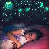 Habett Adesivi Fluorescenti 445 pcs, 6 Pezzi Stelle Luna Dots Adesivi da Parete Fluorescen...