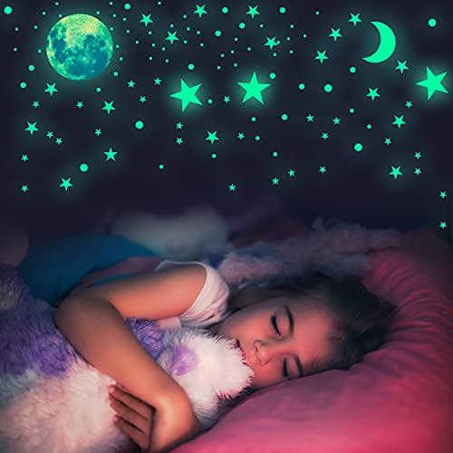 Habett 6 pegatinas luminosas 445 con diseño de cielo estrellado y luna y estrellas, autoadhesivas, pegatinas luminosas, decoración de pared para habitación de bebés y niños