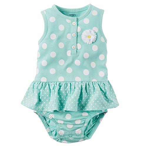 Carter's Bodykleid Spieler Einteiler Sommer Outfit Baby Body Mädchen Girl Dress Onesie Kleid (3 Monate, türkis)