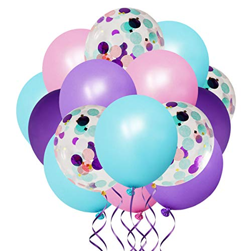50 Pack Mermaid Party Balloons 12 Inch Light Purple Dark Purple Pink Blue Latex Balloons & Confetti Balloons Birthday Party Bridal Shower Wedding Baby Shower Decorations Princess Party Supplies