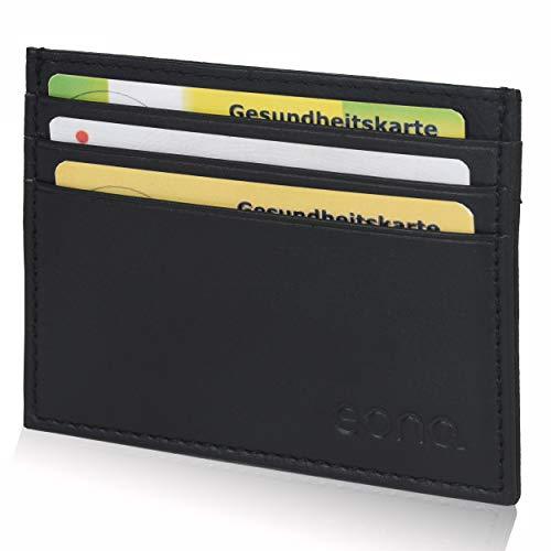 Amazon Brand - Eono - Tarjetero de Cuero con Compartimento para Billetes para Mujer y Hombre con diseño Plano y protección contra Lectura RFID (Cuero napa Vacuno Negro)