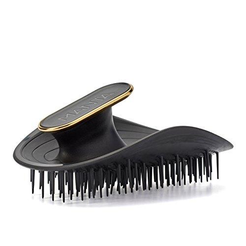 Manta Hair Cepillo para el pelo, negro, cepillo para el cabello totalmente flexible, cepillo suave que ayuda a prevenir la rotura del cabello.