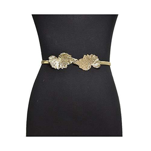 BAACHANG Damenmode Ahornblatt Schnalle dekorative frühling Taille Kette Metall gürtel (Farbe : Golden)