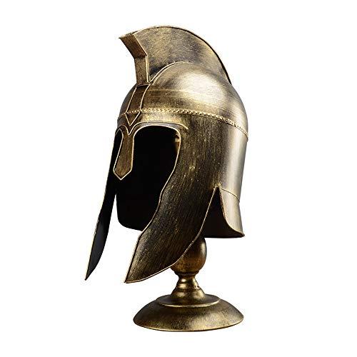 WANHAO Lámpara de Mesa Medieval Knight Helmet, luz de Escritorio corintia Griega espartana,Vintage réplicas Antiguas Guerrero Helmet Lámpara de Escritorio luz de Mesa E27