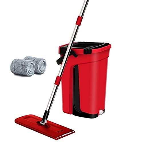 Platte mop en emmer. De automatische 360 graden reiniging is zeer goed geschikt voor natte en droge reiniging. Alle oppervlakken veilige reiniging 2-delig mopdoek