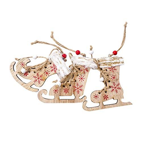 HSKB kerstboom van hout, ouderwets, engel, eland-ornament, hanger, dennenrendier, sterren, boomversiering om op te hangen, decoratie, geschenken