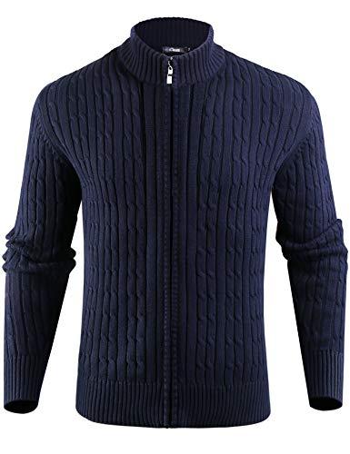 iClosam Cardigan Hombre Casual Cuello Abierto JerséIs Hombre De Manga Larga Zip Sweater Men